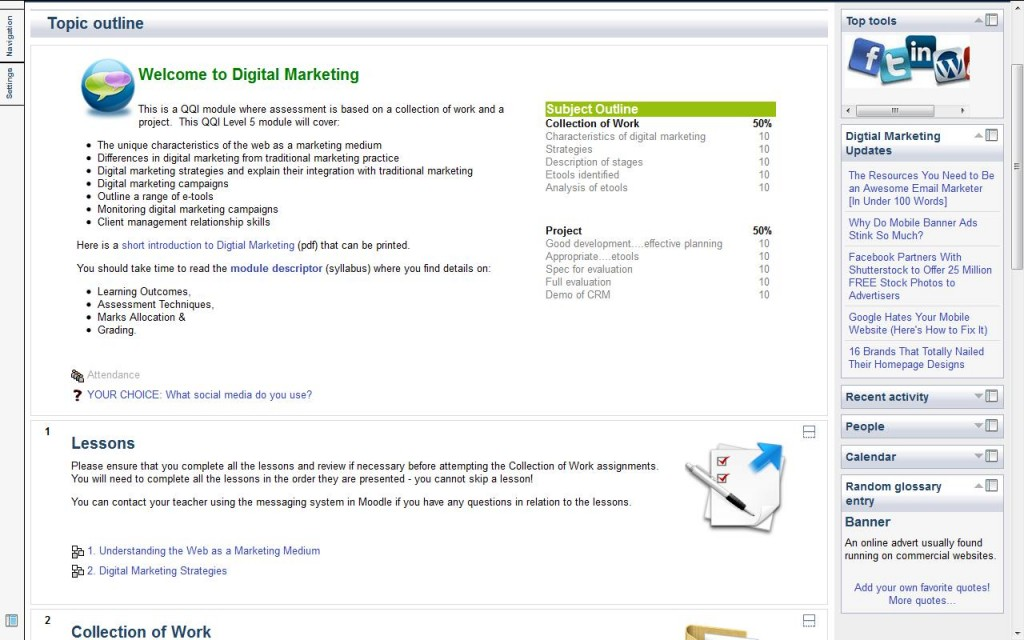 Digital Marketing course on Moodle